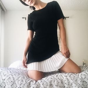 Boohoo Black Mini with White Pleated Underskirt